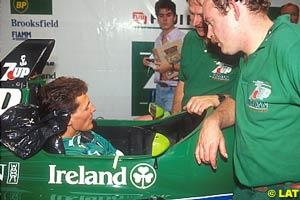 Schumacher having a seat fitting in Jordan