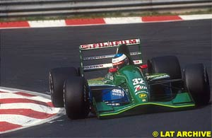 Michael Schumacher in his first and only race with Jordan, 1991