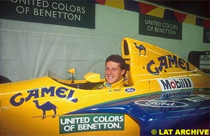 Schumacher in a Benetton for the first time