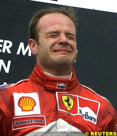 An emotional Rubens Barrichello on the podium, today