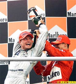 David Coulthard and Michael Schumacher, today