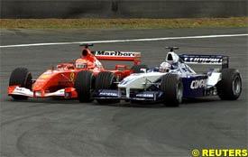 Juan Montoya overtakes Michael Schumacher, today