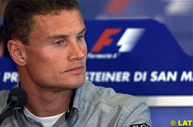 David Coulthard during today's press conference at Imola