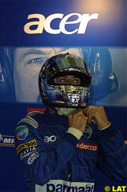 Jean Alesi,  before the start of the race
