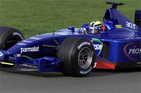 Burti driving the Prost at Silverstone