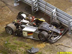 Alboreto's car after the accident
