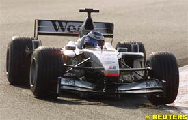 Mika Hakkinen driving his McLaren at Barcelona, today