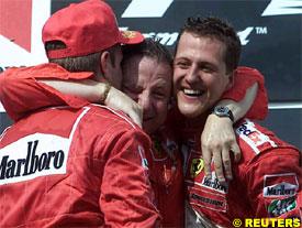 Barrichello, Jean Todt and Michael Schumacher
