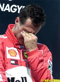Michel Schumacher cries on the podium, today