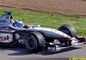 Mika Hakkinen at the wheel of the McLaren MP4-16, today