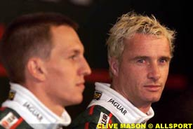 Jaguar drivers Luciano Burti and Eddie Irvine, today