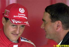 Michael Schumacher with Nigel Mansell, today
