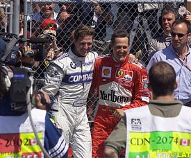 Ralf and Michael Schumacher after today's race