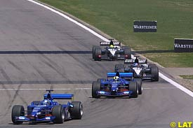 Jean Alesi leads teammate Luciano Burti, today