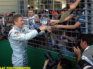 Mika Hakkinen meets the fans, today in Melbourne