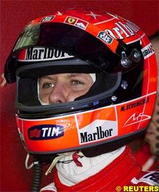Schumacher with the Schuberth helmet, today