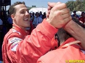 Schumacher celebrates his pole