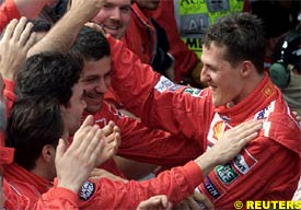 Schumacher celebrates today's win