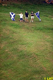 Scottish fans fly the flag during today's qualifying
