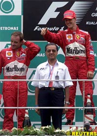 Barriichello and Schumacher on the podium, today