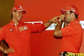 Michael Schumacher and Rubens Barrichello, today in Brazil