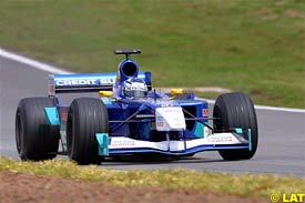 Kimi Raikkonen in action at Interlagos, today