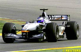 Mika Hakkinen in action today at Valencia