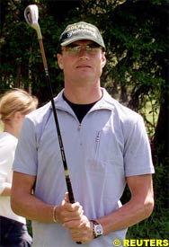 David Coulthard, playing golf, today in Austria