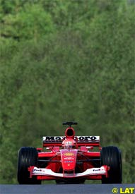 Schumacher during qualifying, today