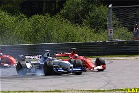 Montoya and Schumacher during their incident, today