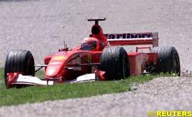 Schumacher in the gravel trap, today