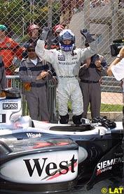 David Coulthard celebrates his pole