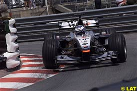 Mika Hakkinen in action today at Monaco