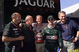 Irvine with members of the Jaguar team, today